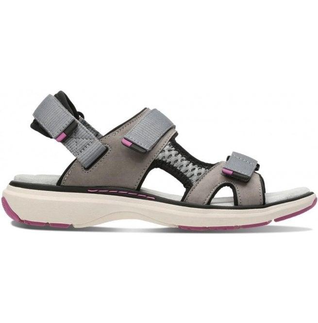 852c053173c Clarks Clarks Womens Un Roam Step Grey Nubuck Velcro Sports Sandals 26133266