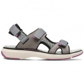 bbb6eca1d88 Womens Un Roam Step Grey Nubuck Velcro Sports Sandals 26133266. Clarks ...