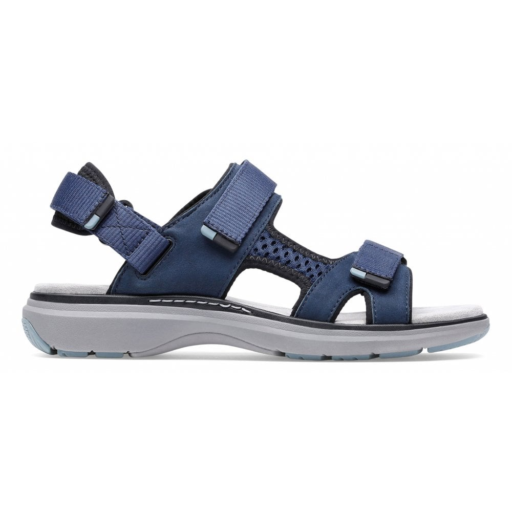 Details about Clarks 26141682 Women's Un Roam Step Navy Nubuck Shoes Active EVA Flat Sandals