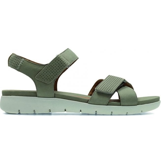 ecefacb58476 Clarks Womens Un Saffron Sage Nubuck Leather Sandals