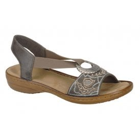 9152d4ee87bc3 Womens Vesur Dark Grey Smoke Elasticated Ring Sandals 608B9-45. Rieker ...