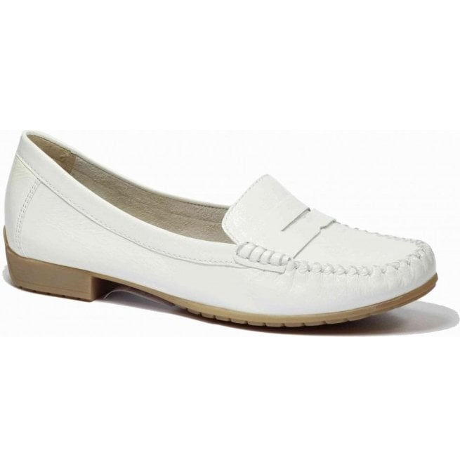 7eaccef52d8 Caprice Caprice Womens White Patent Leather Moccasins 9-24256-26 123