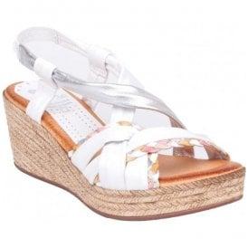 c052ff168f2a Womens White Silver Slip-On Wedge Sandals 304 BA 25. Marila ...