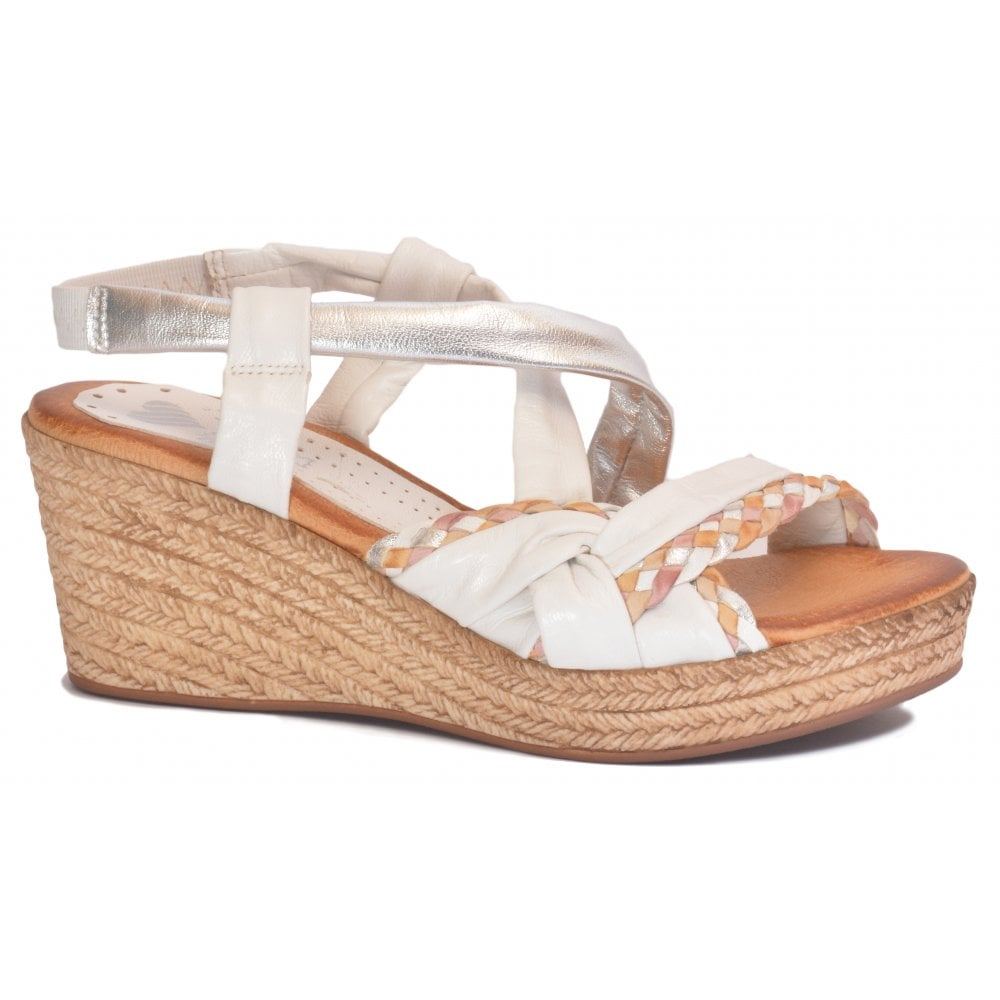 f13bdbe2c281 Marila Marila Womens White Silver Slip-On Wedge Sandals 304 BA 25