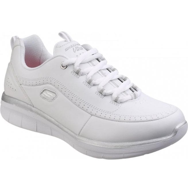 Skechers Womens White Silver Synergy 2.0 Lace-Up Shoes SK12363 d9edb11beb