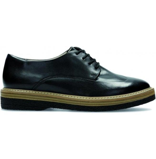Clarks Clarks Womens Zante Zara Black Leather Lace Up Shoes 65b458a7b7c5
